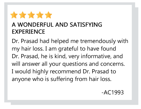 Patient testimonial about hair loss treatment in Vienna, Virginia