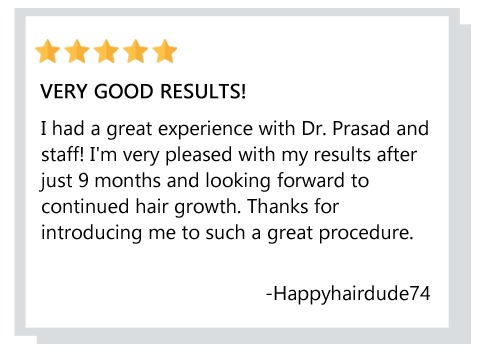 patient testimonial about hair loss treatment in Manhattan New York