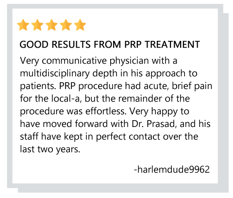 patient review about prp treatment for hair loss at Manhattan NY