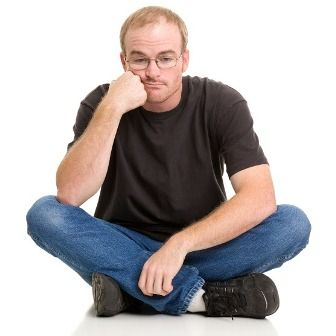 sad man with thinning hair
